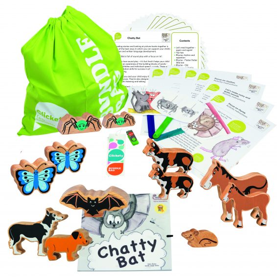 Chatty Bat Bumper Story Bundle with wooden animals