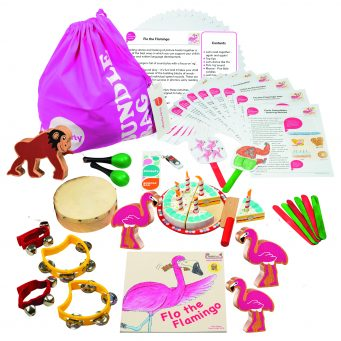 Flo the Flamingo Bumper Story Bundle with wooden animals