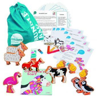 Clarabelle's Scarf Bumper Story Bundle with wooden animals
